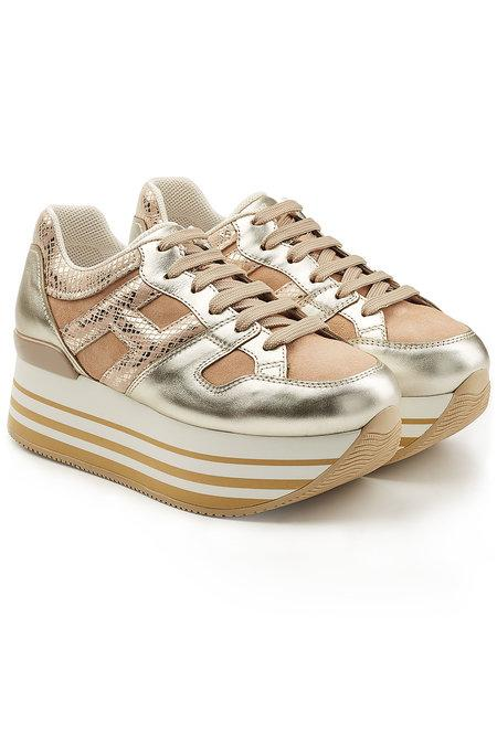 Hogan Platform Sneakers With Leather And Suede In Beige