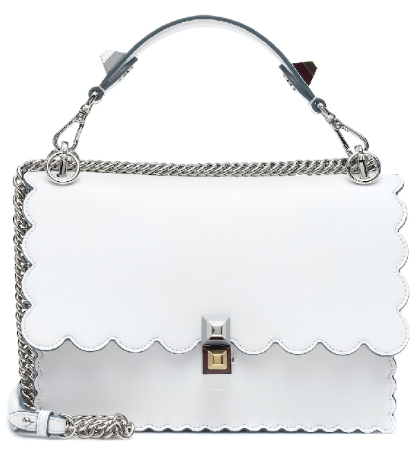 7a88c229c73 Fendi Kan I Regular Leather Scalloped Shoulder Bag In White | ModeSens