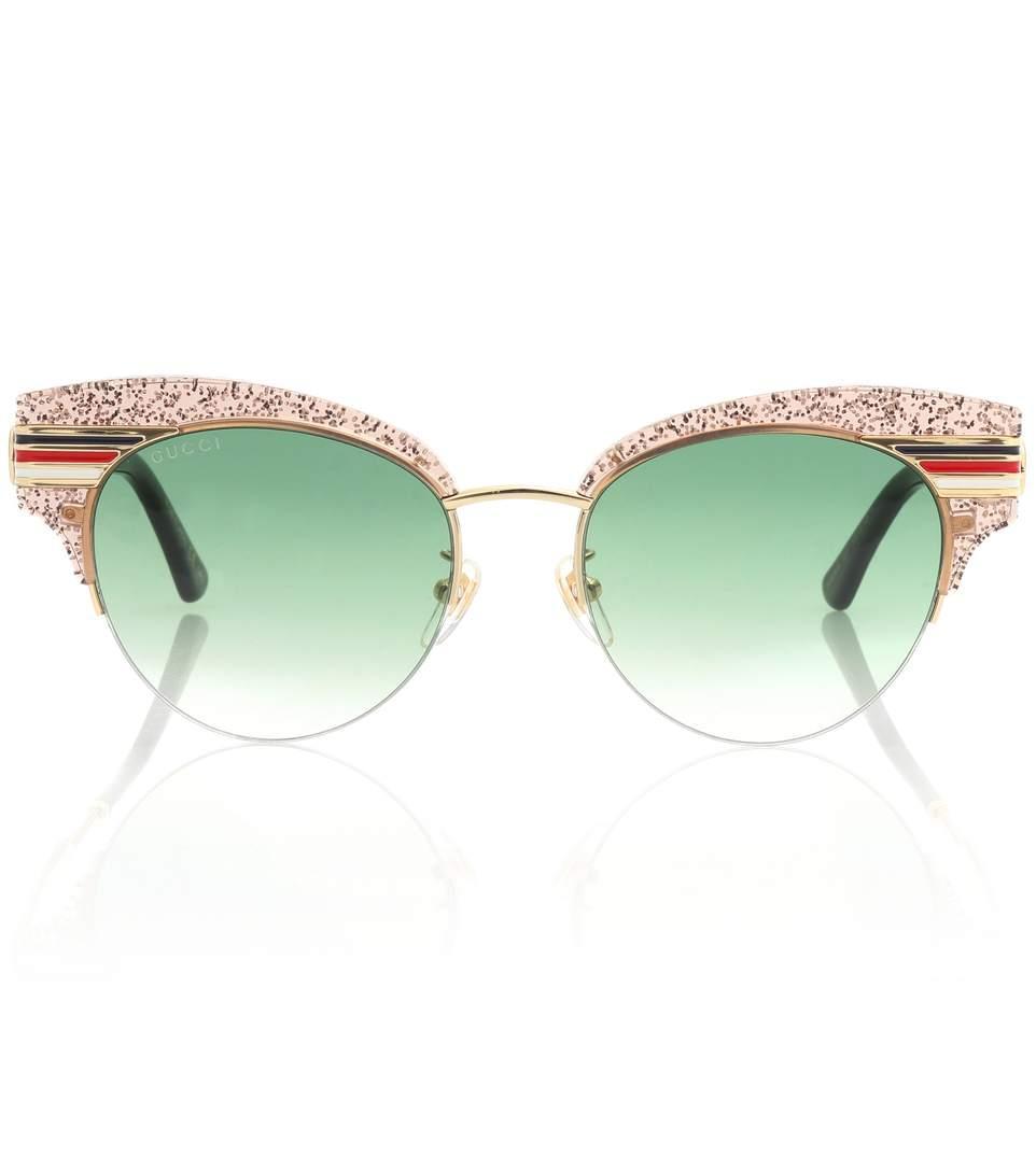Gucci Glitter Half-Rim Sunglasses In Gold