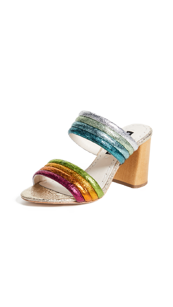 Alice And Olivia Multicolored Metallic Leather Sandals