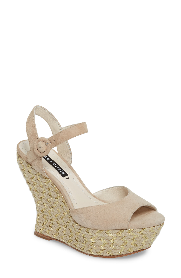 1d8d7fa4932 Alice And Olivia Jana Suede Wedge Platform Sandal In Nomad