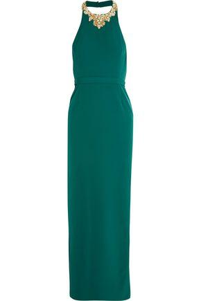 Marchesa Notte Embellished Crepe Gown In Emerald