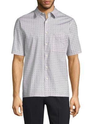 Bruner Dot Print Button-Down Shirt in Seed