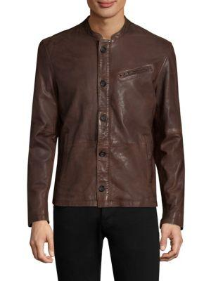 John Varvatos Button Front Leather Jacket In Coffee