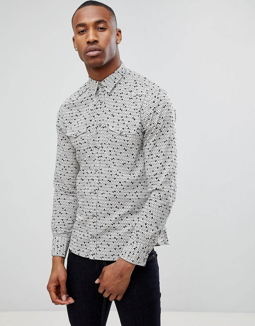 d1fa37443 Boss Orange Erodeo Slim Fit Triangle Print Shirt White - White ...