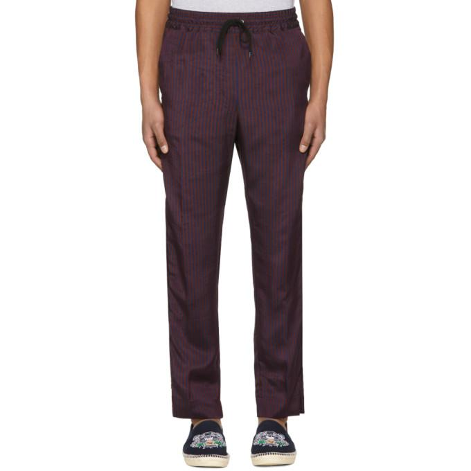 Kenzo Burgundy And Navy Jacquard Stripe Trousers In 23.redstrip