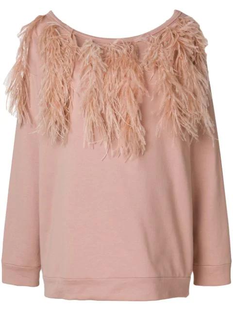 N°21 Bateau-Neck Long-Sleeve Sweatshirt W/ Feather Trim In Pink
