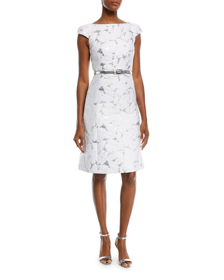 Michael Kors Palm-Brocade Boat-Neck Cocktail Dress With Belt In White/Silver