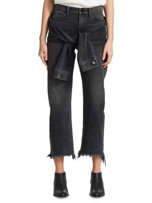 T By Alexander Wang Stack Tie Crop Jeans In Grey Aged