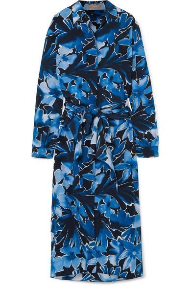 Michael Kors Printed Silk Crepe De Chine Midi Dress In Navy