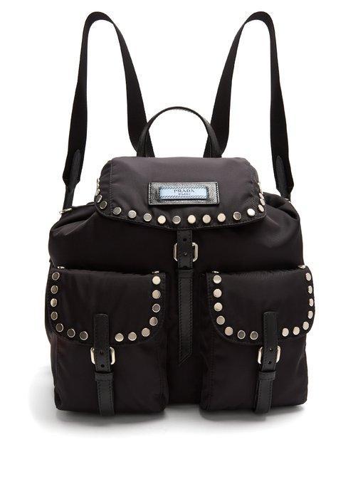 dfbbbe4daaed Prada Small Stud-Embellished Nylon Backpack In Black