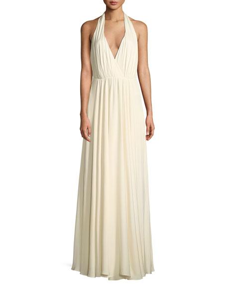 Milly Georgina Silk Stretch Halter-Strap Gown, White
