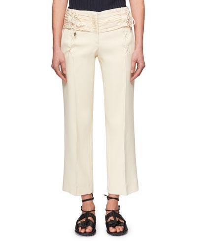 Carven Lace-Up Cropped Bonded Crepe Straight-Leg Trousers In Cream