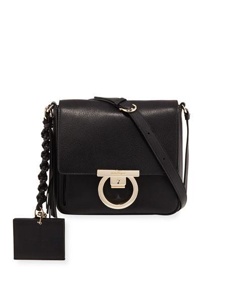 Salvatore Ferragamo Medium Leather Lock Shoulder Bag In Black