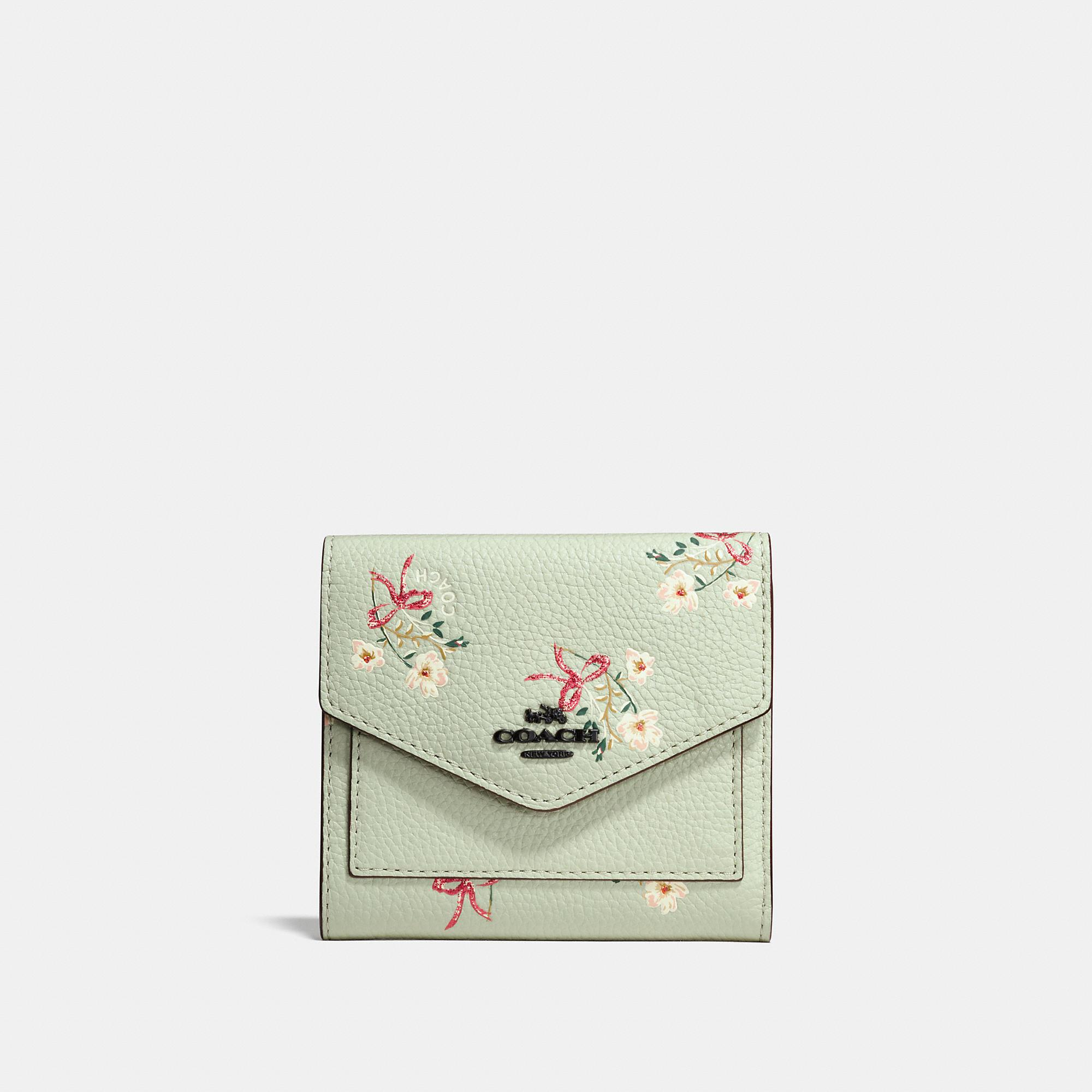9f8b48918e7 Coach Small Wallet With Floral Bow Print In Pale Green/Black Copper ...