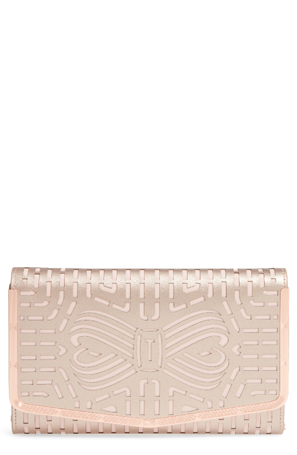 93b8353d6ecde Ted Baker Bree Laser Cut Bow Leather Clutch - Pink In Rose Gold ...