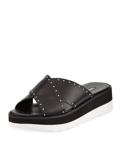 9136d4d56b1 CHARLES DAVID. Women s Buxom Studded Leather Platform Slide Sandals in Black