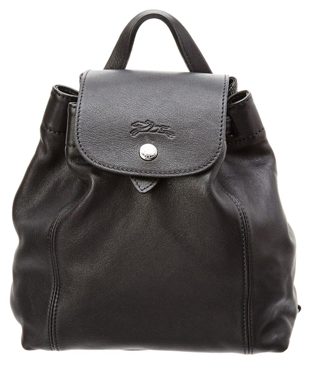 Longchamp Le Pliage Cuir Xs Leather Backpack In Black