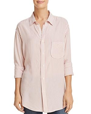 044868df 7 For All Mankind High-Low Tie Long-Sleeve Button-Front Striped Shirt