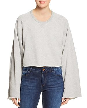 7 For All Mankind Crewneck Flare-Sleeve Sweatshirt In Gray