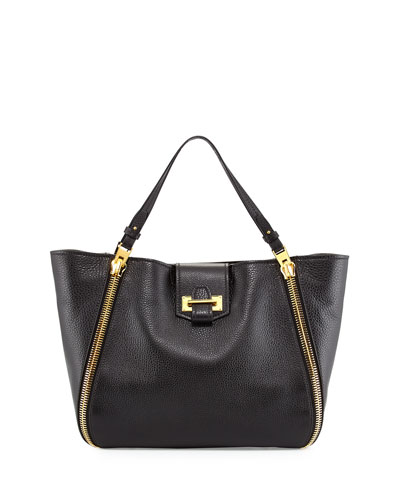 Tom Ford Medium Sedgewick Leather Zip-Trim Tote Bag, Black