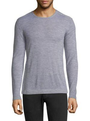 John Varvatos Knit Cashmere Long Sleeve Tee In Lt Grey Hthr
