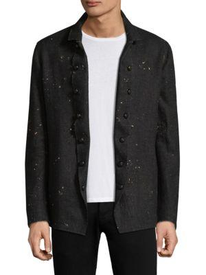 John Varvatos Slim Double Breasted Button Front Jacket In Black