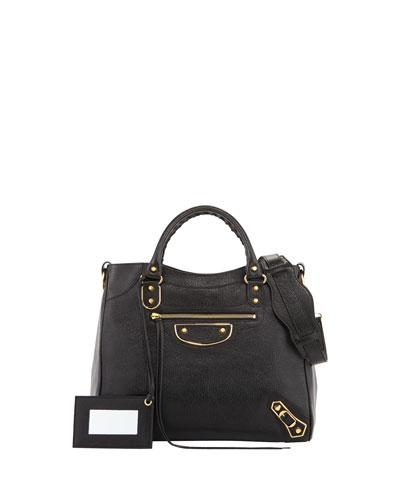 Balenciaga Classic Nickel Velo Aj Leather Bag, Black