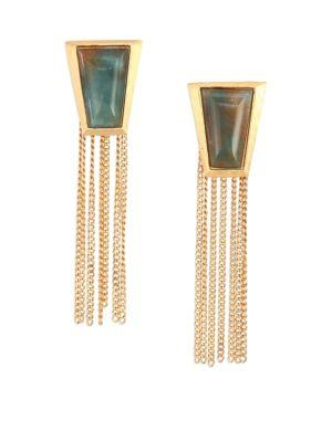 Stephanie Kantis Impose Green Moss Agate Chain Fringe Earrings
