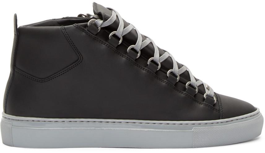 8466ae8e51f Balenciaga Black & Grey High-Top Arena Sneakers | ModeSens