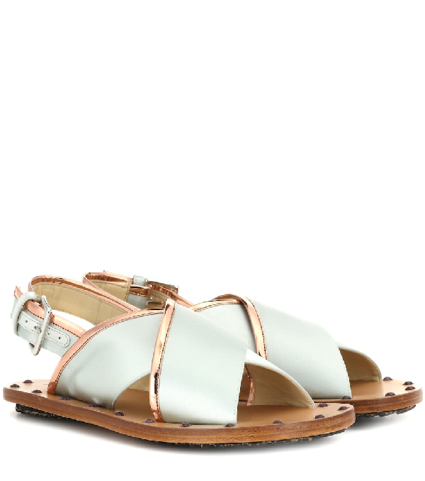 Marni Cross Over Strap Sandals In Multicolour