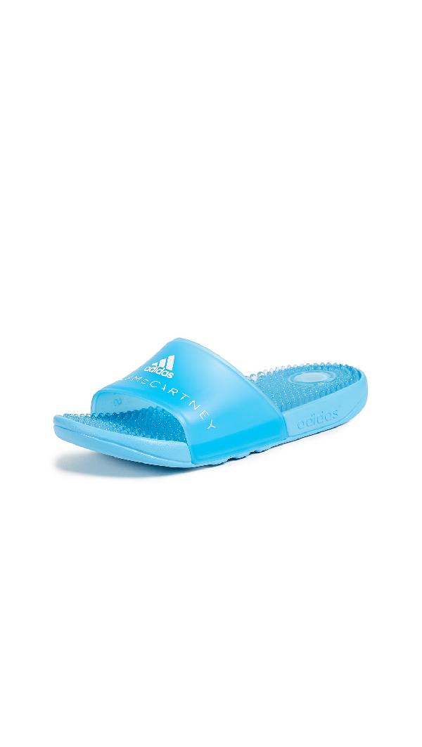 Adidas By Stella Mccartney Adissage Slider Sandals In Mirror Blue/mirror Blue/white
