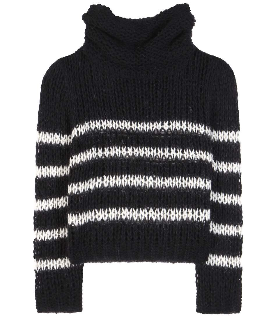 Saint Laurent Wool And Mohair-blend Sweater In Black
