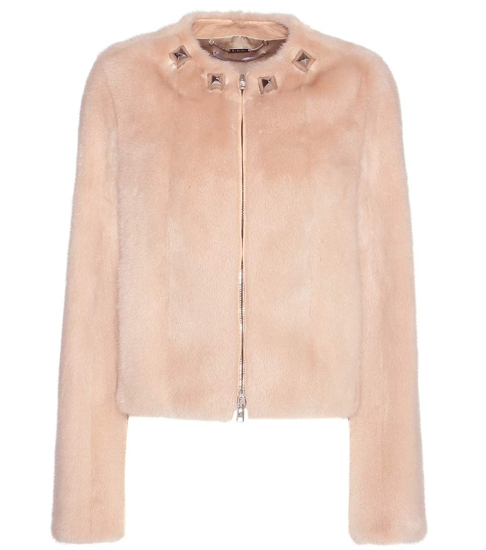 Givenchy Embellished Mink Fur Jacket In Pale Piek