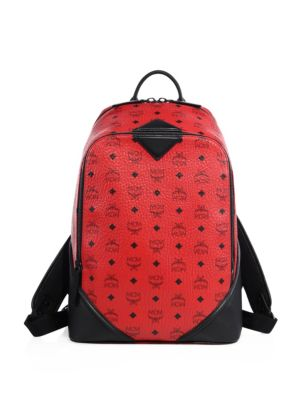 Mcm Leather Trimmed Canvas Backpack In Ruby Red