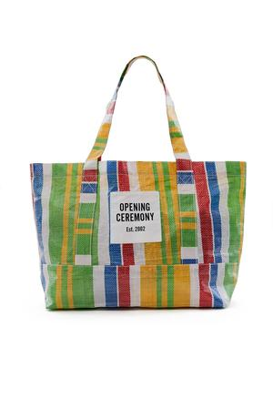 Opening Ceremony Medium Striped Tote Bag In Jewel Red Multi