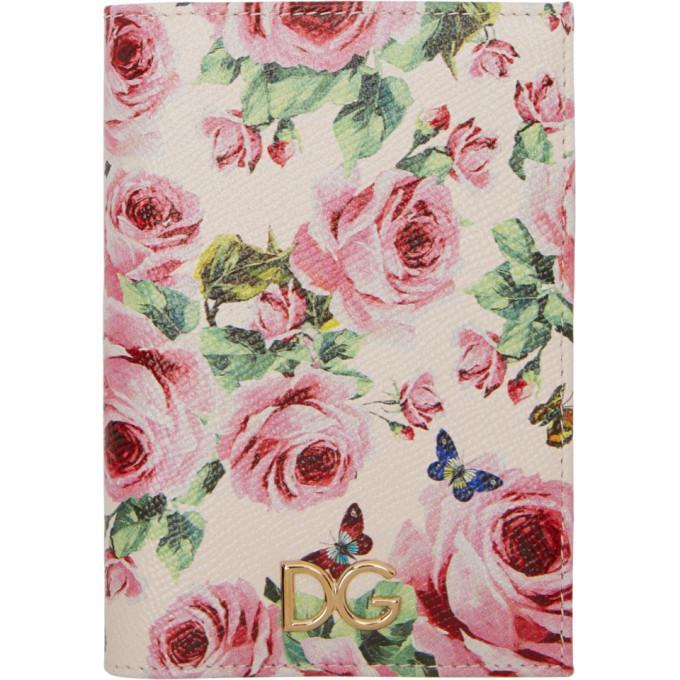 Dolce & Gabbana Dolce And Gabbana Pink Floral Passport Holder In Hah41 Rose