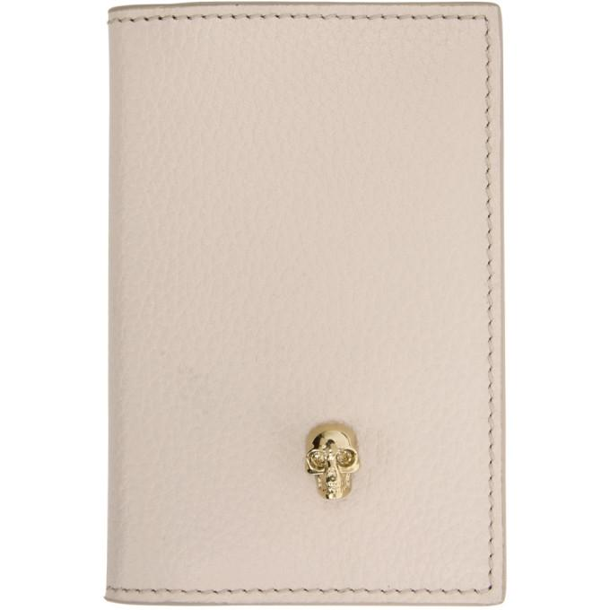 Alexander Mcqueen Pink Skull Bifold Card Holder In 9901 Nude
