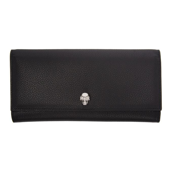 Alexander Mcqueen Black Skull Travel Wallet In 1000 Black