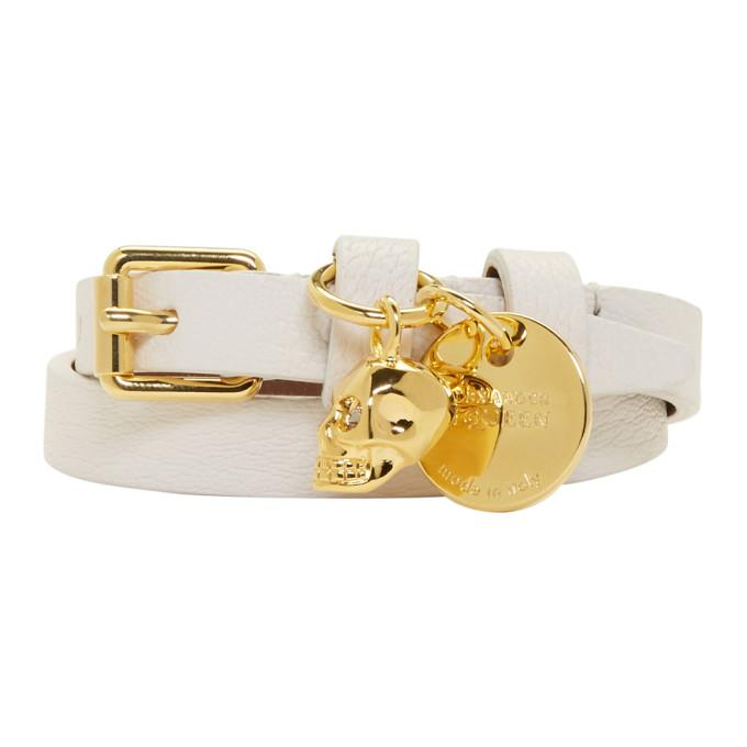 Alexander Mcqueen Off-white And Gold Skull Double Wrap Bracelet In 9003 Off Wh