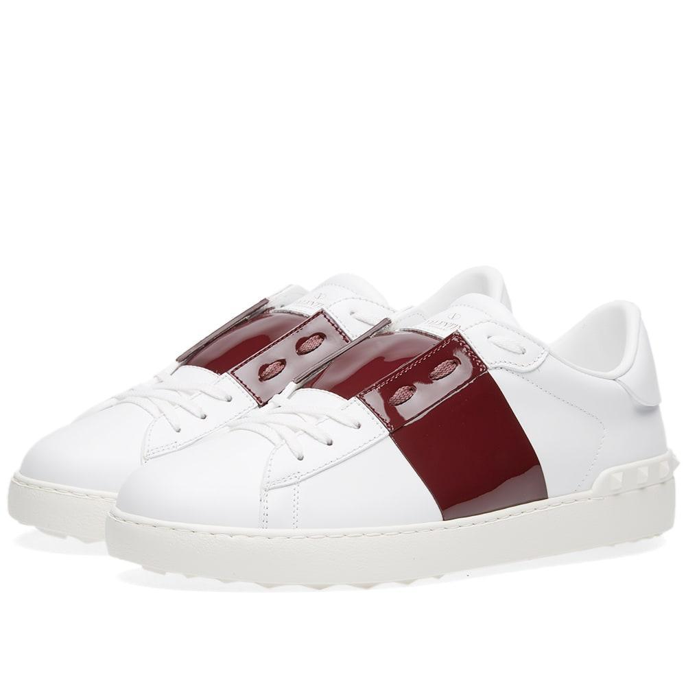 Valentino Garavani Valentino Open Low Top Patent Sneaker In White