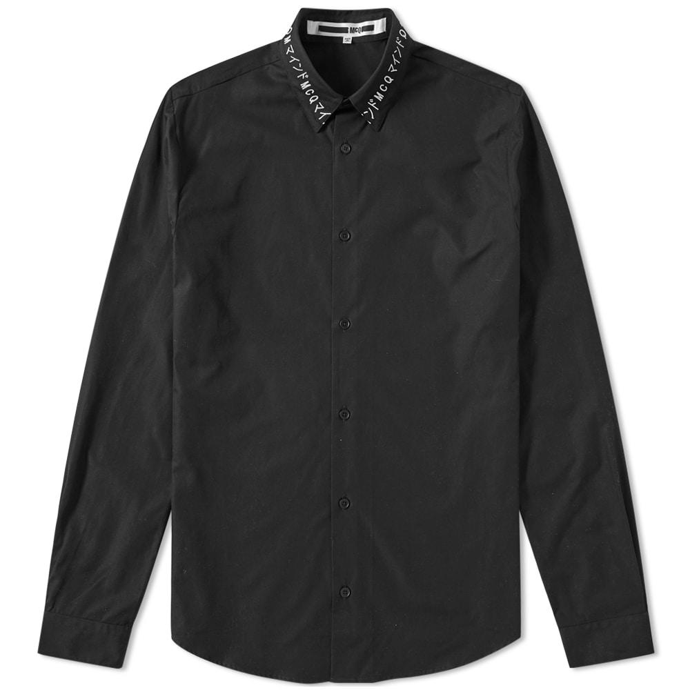 Mcq By Alexander Mcqueen Embroidered Collar Shirt In Black