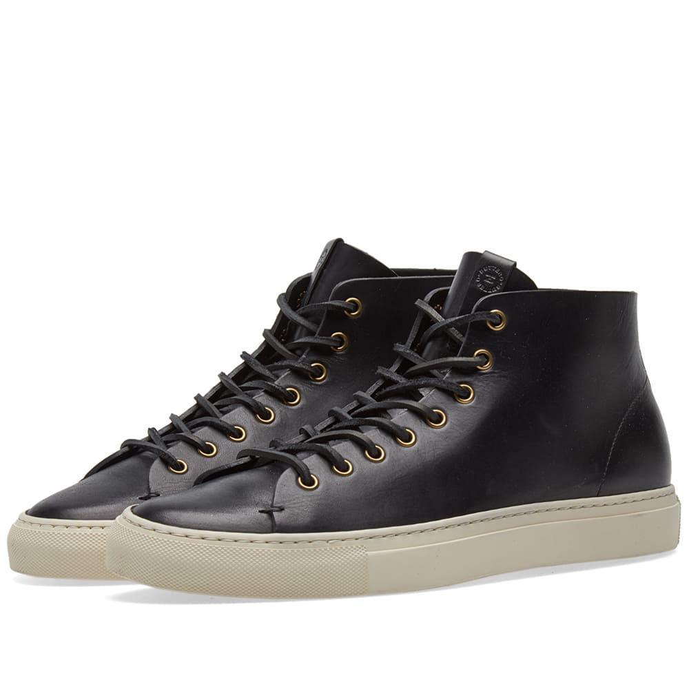 Buttero Tanino Mid Leather Sneaker In Black