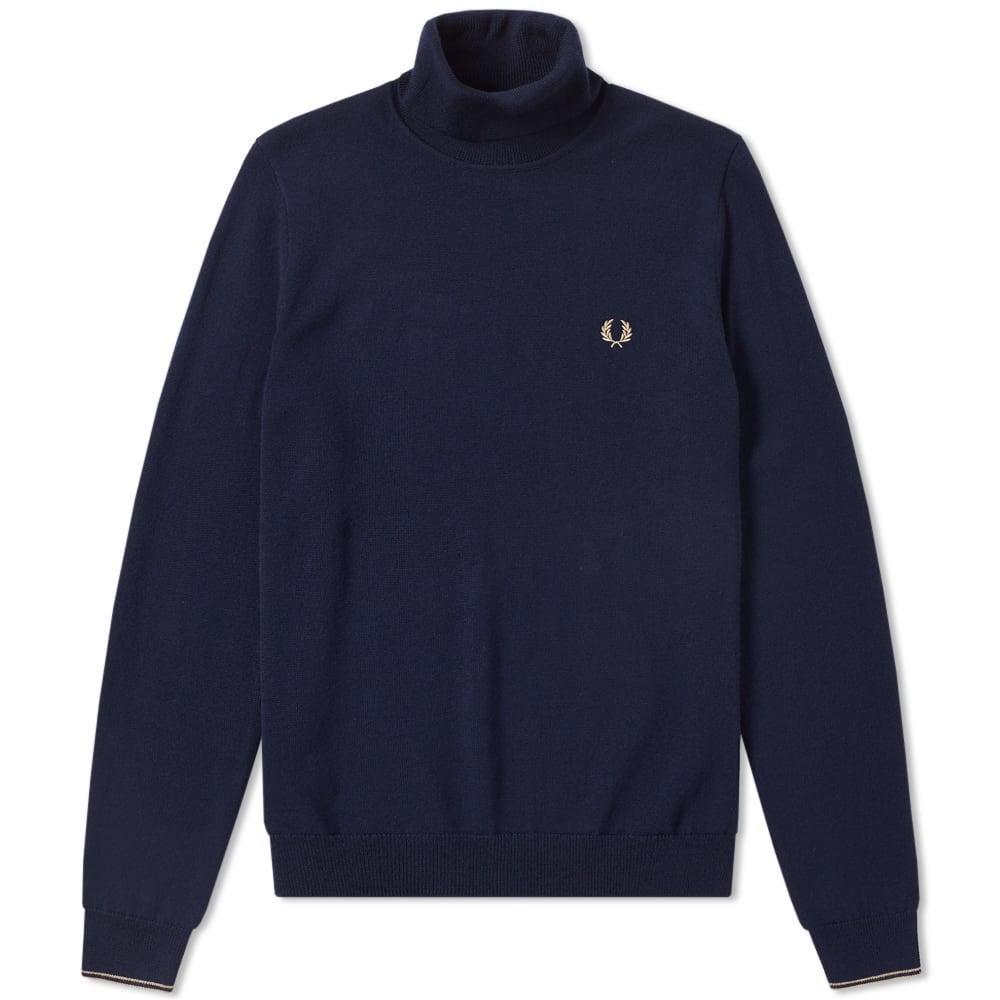 Fred Perry Classic Merino Roll Neck Knit In Blue