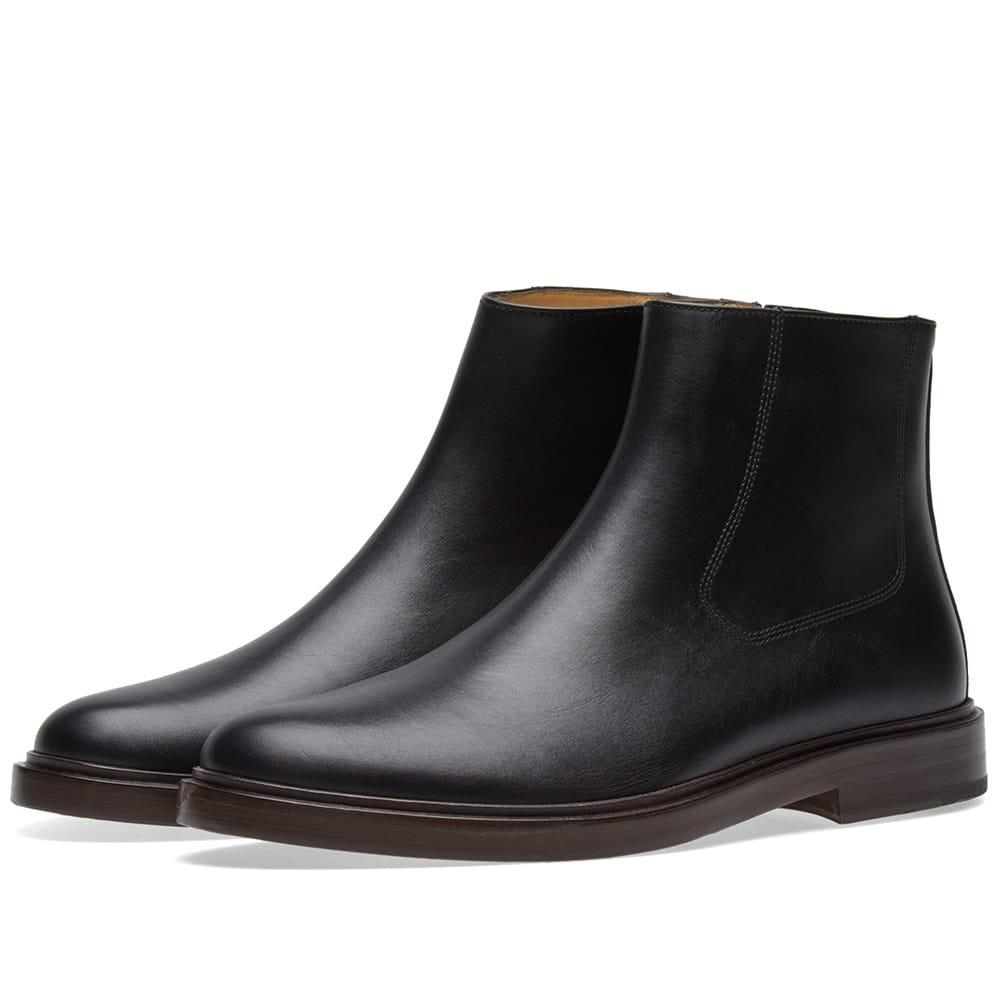 A.p.c. Leonard Leather Boot In Black