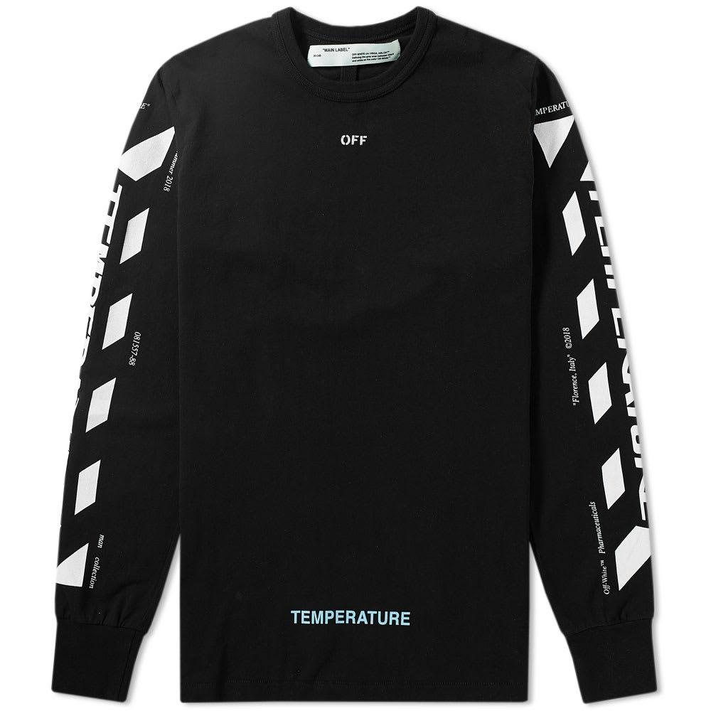 Off-white Long Sleeve Diagonal Temperature Tee In Black