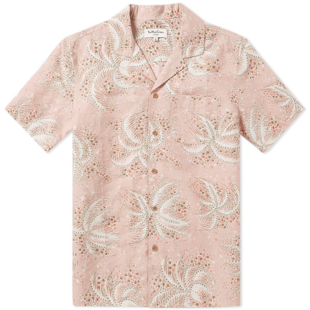 Ymc You Must Create Ymc Short Sleeve Palm Malick Shirt In Pink
