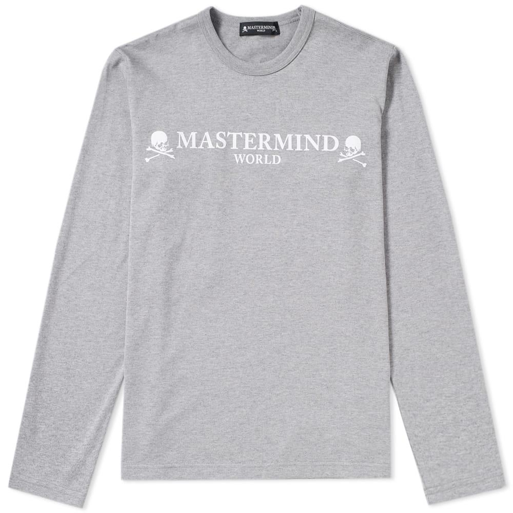 Mastermind Japan Mastermind World Long Sleeve Logo Tee In Grey