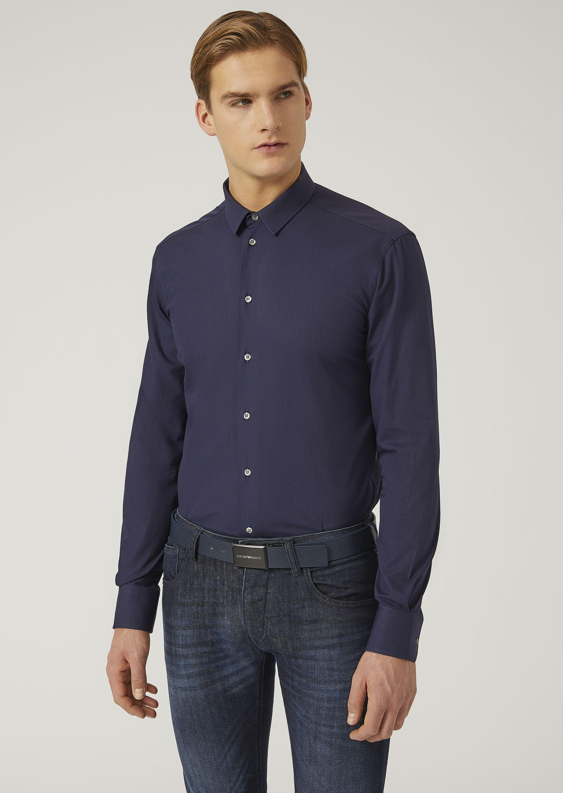 Emporio Armani Classic Shirts - Item 38719045 In Navy Blue