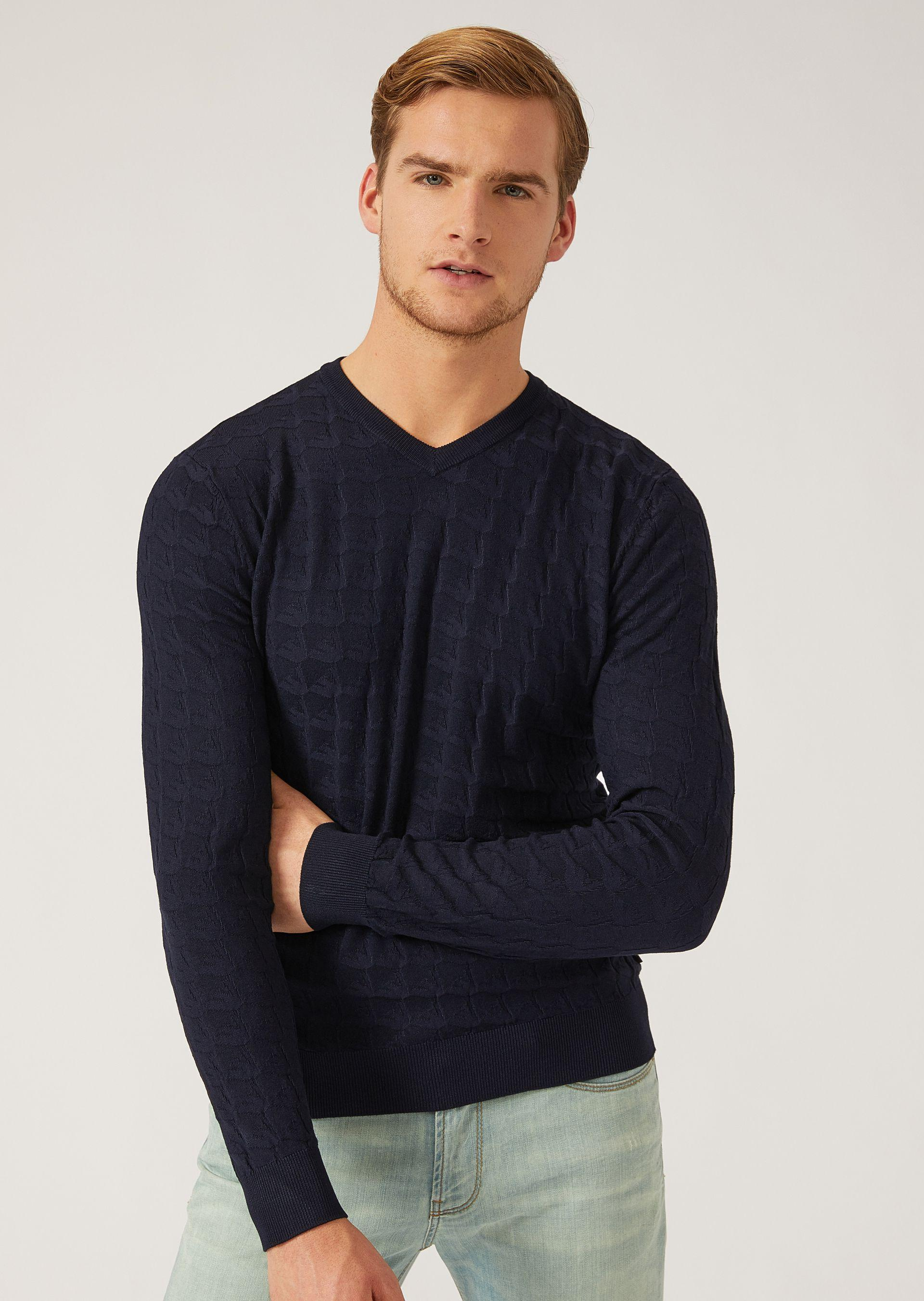 Emporio Armani Sweaters - Item 39836404 In Navy Blue